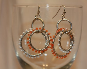 BOHO orange and white metal earrings