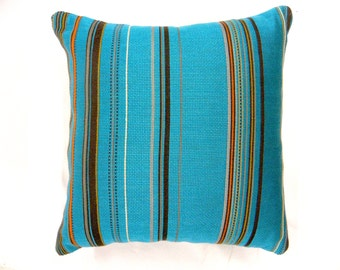 Maharam Blue Striped Pillow Cover - Colorful Decorative Cases, Cyan Aqua Throw Indoor  Summer Cushion Case 16x16