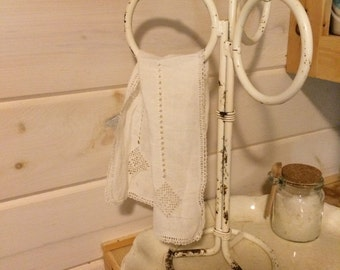 Vintage Chippy White Towel Rack
