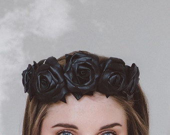 Black Leather Flower Crown (Large)
