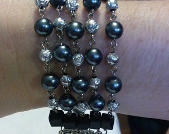 Charcoal Glass Pearl and Silver Rose Miraculous Rosary Bracelet