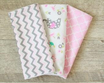 Baby Girl Burp Cloths - set of 3 - Animals - Chevron