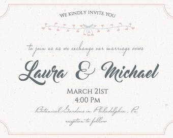 5X7 Beautiful Peach and Gray simple wedding invitations