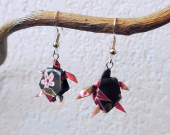 Turtle origami earrings