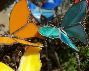 Custom Butterfly stained glass garden stake handcrafted 3D yard art made to order