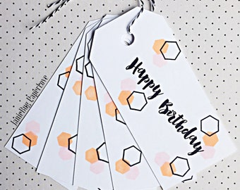 Birthday gift tag set of 5, Birthday Tag, hang tag, honeycomb tag