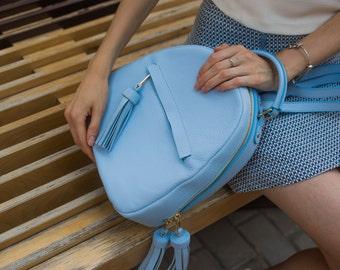 Stylish urban leather backpack / Handmade women leather backpack