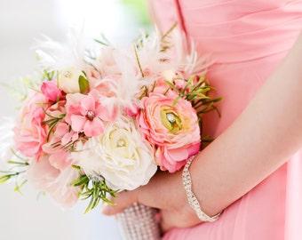 Feather, sparkle, bling, bridesmaid silk bouquet