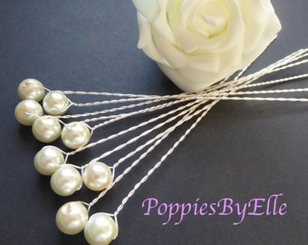 10 Elegant Glass Pearl Stems, Single pearls on a twisted silver Wire, pearls, pearl picks, stem, elegant, floral, florestry