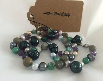 Pearl, Amethyst, Agate and Labradorite 'Stormy Weather' necklace