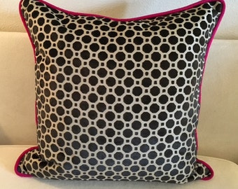 Huge Robert Allen Raised Velvet Polk-a-dot Pillow