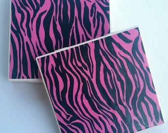 pink and black zebra design ceramic coasters