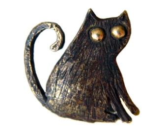 Cat pendant Bronze pendant Cat necklace Bronze jewelry Black cat pendant Animal pendant Gift for girlfriend Kitty pendant  Kitten pendant