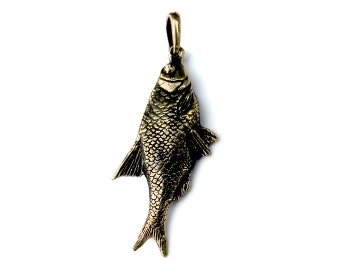 Bronze pendant Vobla Fish pendant Funny pendant Beach jewerly Fish necklace Fish jewelry Fish charm Vobla fish Gift for fisher Sea jewelry