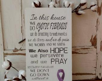 Cystic Fibrosis - CF Home Decor - CF Awareness - Cystic Fibrosis Awareness - CF Mom - Purple Ribbon