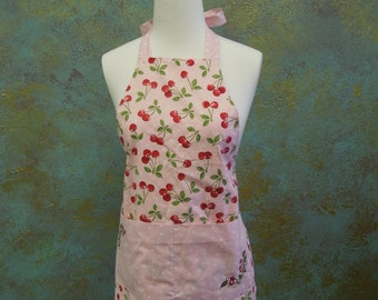 Cherry Apron with embroidery