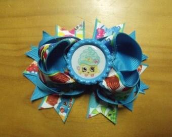 "Shopkins Handmade Boutique Layered Hair Bow 4.5"" Blue Cupcake Rainbow Color - Girls - Alligator Hair Clip"