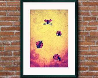 Lady Bird Poster Print - A3 high quality print of original artwork