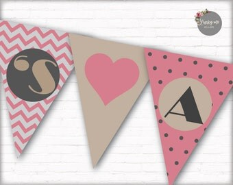 Heart Decor, Baby Shower Banner Party Supplies Digital Decoration Printable Its a Girl Pennant Banner, Instant Download, DIY