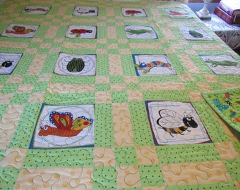 Green bug quilt, homemade handmade quilt, baby quilt, toddler quilt, youth bed quilt, nursery decor, green and yellow