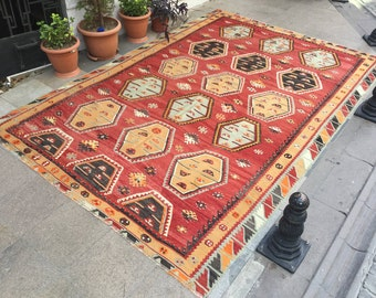 Bohemian Kilim Rug Carpet Anatolian Ethnic Kilim By