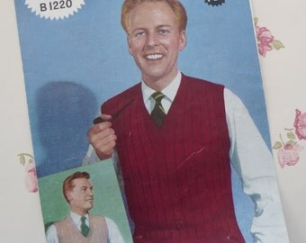 Vintage original Weldons 1950s man's sleeveless pullover knitting pattern