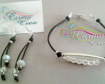 bracelet and earrings and crystals