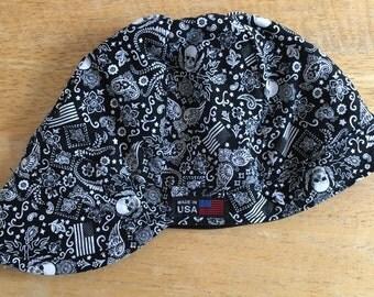 100% Cotton Welding Cap - Skulls and Flags