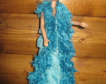 Barbie doll evening gown with Boa
