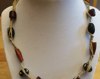 braided necklace with wood beads