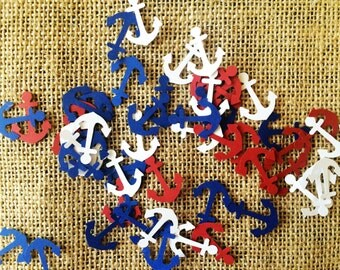 Anchor confetti, die cut, 4th of July, nautical, American, patriotic, red white and blue