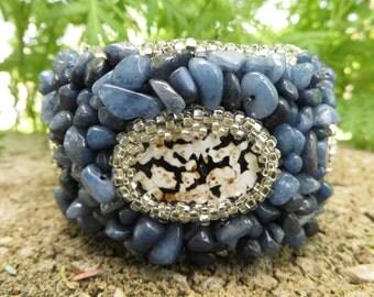 Sodalite Bracelet Cuff, Agate Embroidery Cuff Bracelet, Blue Cuff Bracelet, Blue bracelet Cuff, Sodalite Cuff, Agate Cuff bracelet,