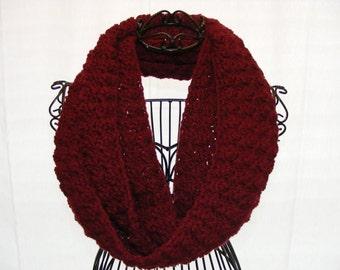 Crochet Infinity Scarf (Burgundy)- Puff Stitch