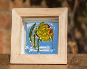 Fused Glass Daffodil on a Mirror Backed Wooden Box Frame