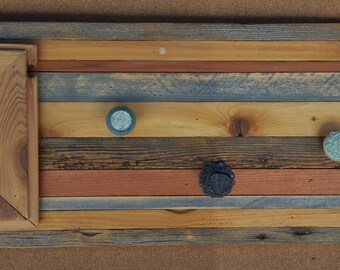 Reclaimed Wood Wall Coat Rack with Photo Frame