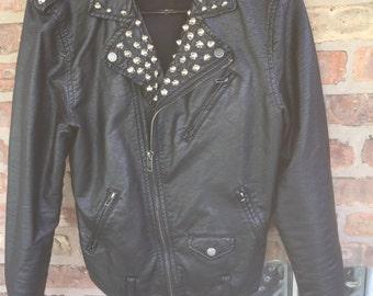 Studded leather punk jacket