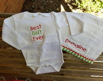 Christmas Burpcloth and Onesie- Best Gift Ever or My First Christmas