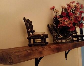 Rustic old wood shelf