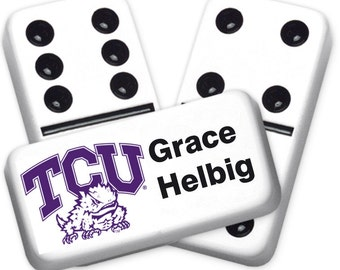 TCU Horned Frogs Custom Personalized Licensed Dominoes Set