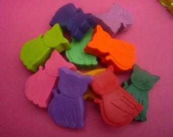 8 kitten cat novelty wax crayons