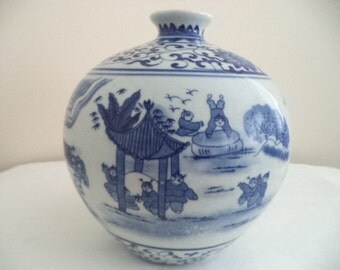 Chinese Blue and White Vase with figural decorations