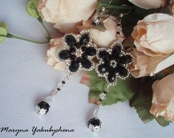 Long earrings Earrings Crystal beads earrings Jewelry  Beadwork Seed beads Gift Crystal earrings Drop earrings Black earrings