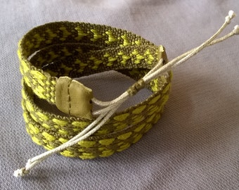 Woven patterned cotton bracelet, triple wrap
