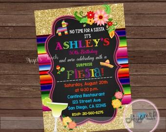 Fiesta Party Invitation, Fiesta Birthday Invitation Chalk, Fiesta Birthday Party Invitation, Fiesta Mexicana Invitation, Digital File