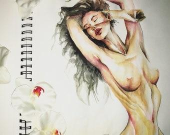 Naked Woman, Watercolor Woman