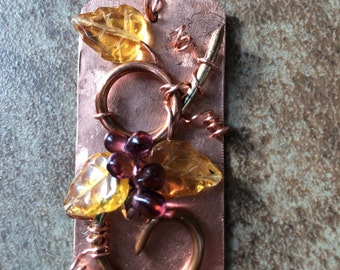 Grape vine sculpture on copper sheet with glass fruit and leaves, pendant and earrings