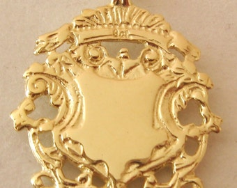 Genuine SOLID 9K 9ct YELLOW GOLD Large English Shield  Pendant Double Sided