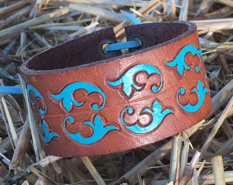 OOAK Upcycled Handpainted Leather Belt Cuff