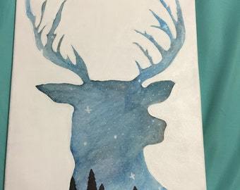 Handmade starry night deer silhouette