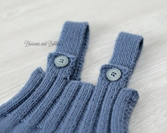 SALE! Hand Knitted Baby Romper. Blue.  Newborn photo props. Photography. Photography props